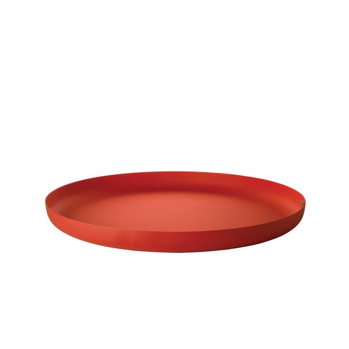 Tablett Ø 35 x H 3 cm von Alessi in rot mit Reliefdekor