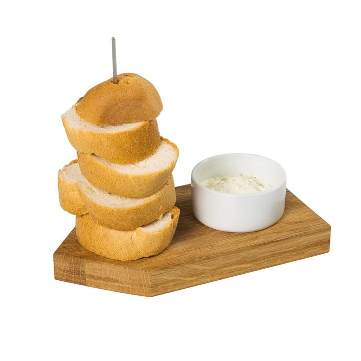 Brot Ahoi Servierbrett mit Dippschale, Eiche / weiss von Raumgestalt