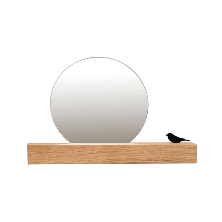 Spiegel mit Vogel Ø 15 cm, Eiche natur von Raumgestalt