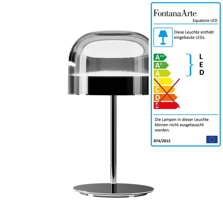 Equatore LED Tischleuchte Ø 23,8 cm von FontanaArte in Chrom / schwarz