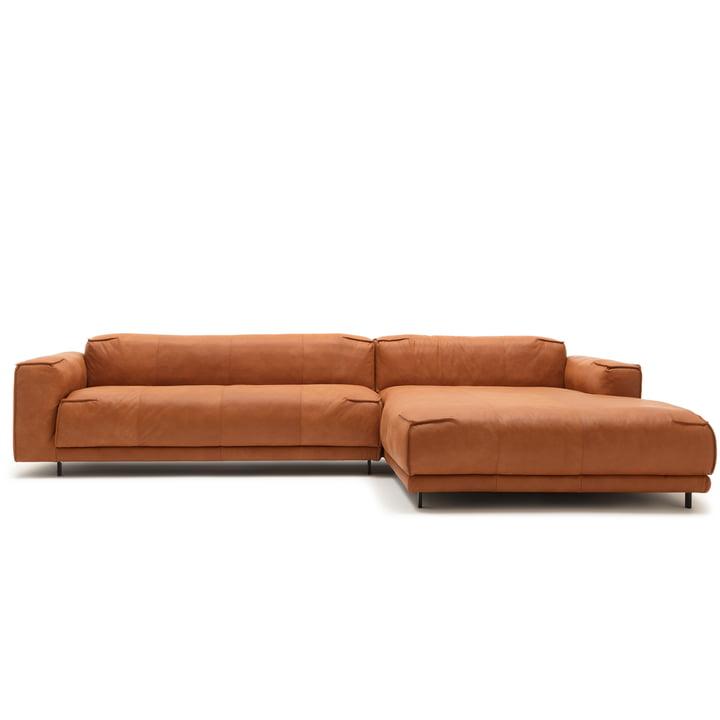 136 Sofa mit Récamiere rechts von freistil mit Bezug Leder ockerbraun (9224) / Stahleinzelfuss tiefschwarz (RAL 9005)