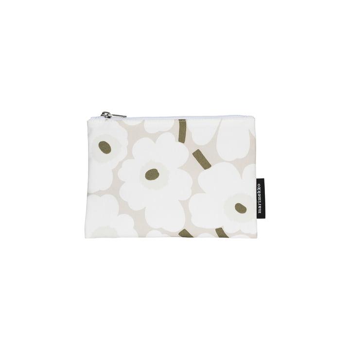 Kaika Mini Unikko Kosmetiktasche, beige / weiss / graugrün von Marimekko