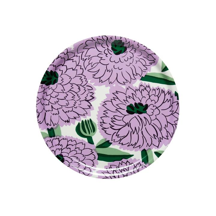 Primavera Tablett Ø 31 cm, weiss / lila / grün von Marimekko