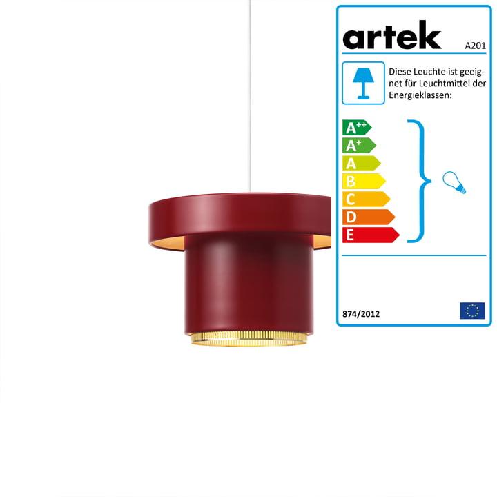 A201 Pendelleuchte von Artek in Messing / dunkelrot