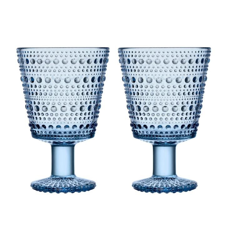 Kastehelmi Trinkglas mit Fuss 26 cl von Iittala in aqua (2er-Set)
