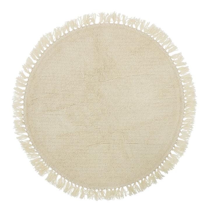 Bloomingville - Naturfaser Teppich mit Fransen Ø 110 cm, Wolle