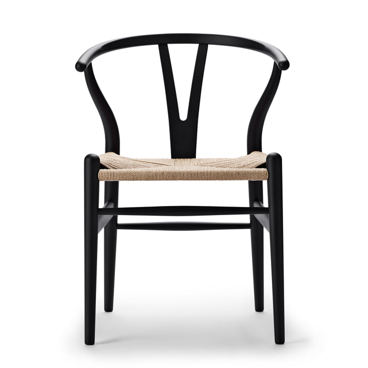 CH24 Wishbone Chair von Carl Hansen in soft black / Naturgeflecht