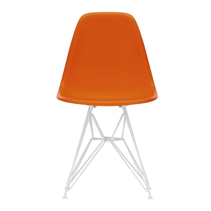 Vitra - Eames Plastic Side Chair DSR, wei? / rostorange (Filzgleiter wei?)