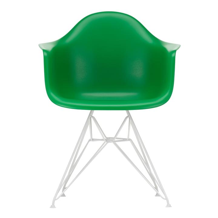 Eames Plastic Armchair DAR von Vitra in weiss / grün (Filzgleiter weiss)