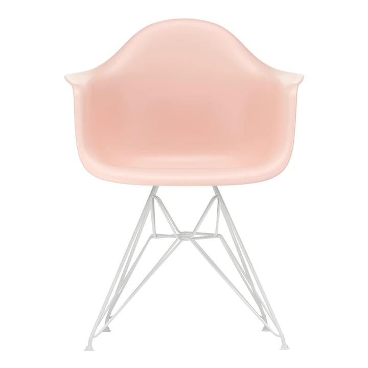 Eames Plastic Armchair DAR von Vitra in weiss / zartrosé (Filzgleiter weiss)