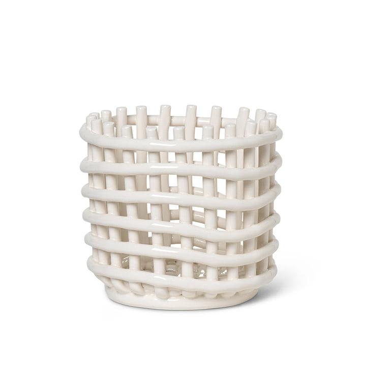 Keramik Korb klein von ferm Living in off-white