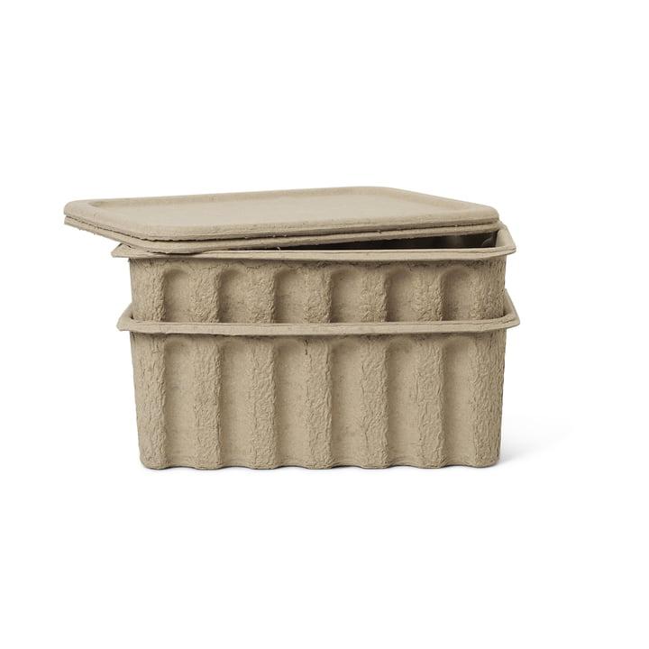 Paper Pulp Aufbewahrungsbox von ferm Living in braun (2er-Set)