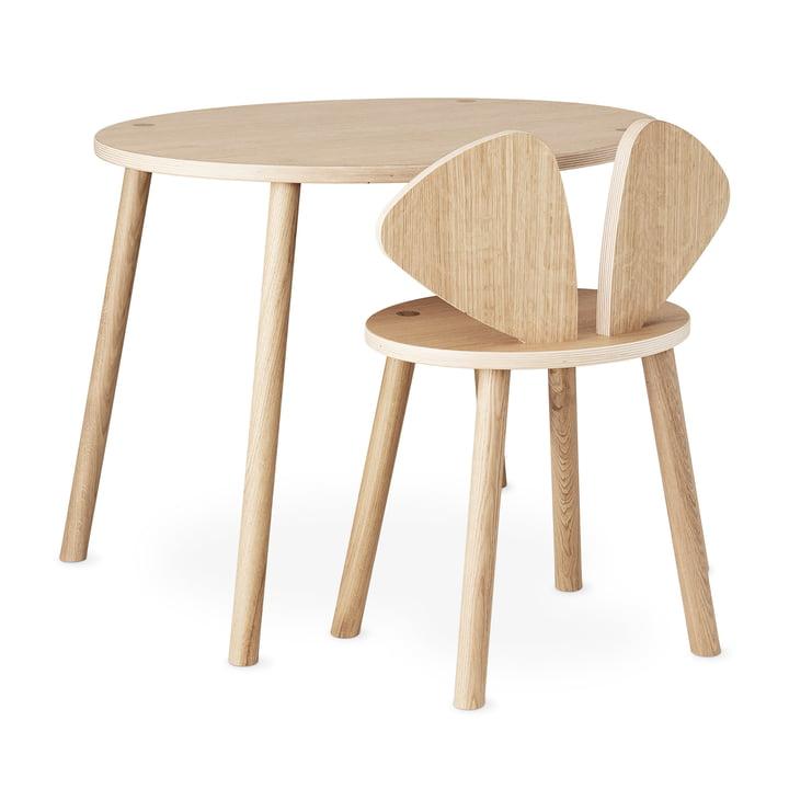 Mouse School Set (Junior - Stuhl und Tisch) von Nofred in Eiche matt lackiert