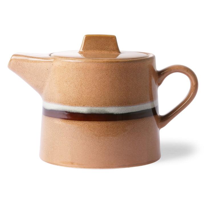 70's Teekanne Stream 1,2 l von HKliving in pfirsich / weiss / braun