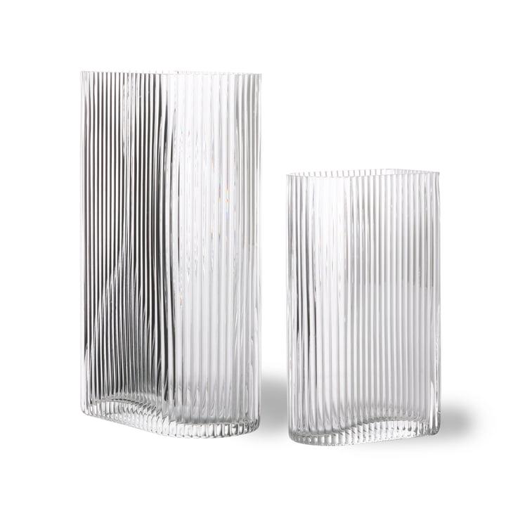 Ribbed Glas-Vase, klar (2er-Set) von HKliving