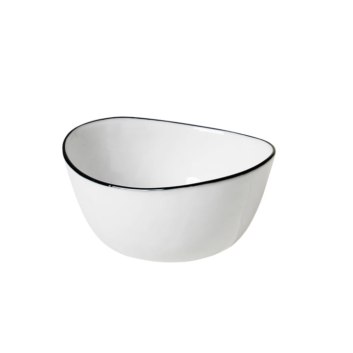 Salt Schale, 10 x 11 x H 5,5 cm, weiss / schwarz von Broste Copenhagen