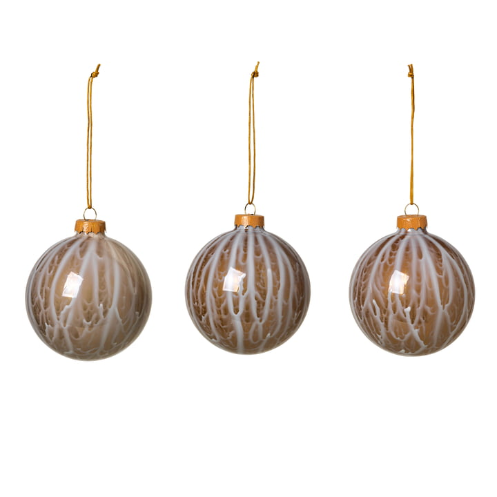 Marble Christbaumkugeln, simply taupe (3er-Set) von Broste Copenhagen