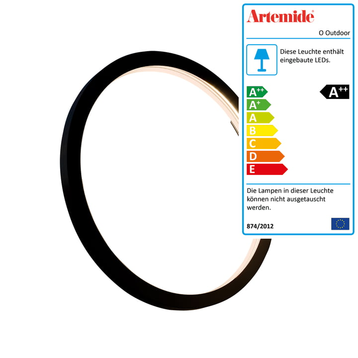 O Outdoor LED Wand- und Deckenleuchte Ø 45 cm, schwarz von Artemide