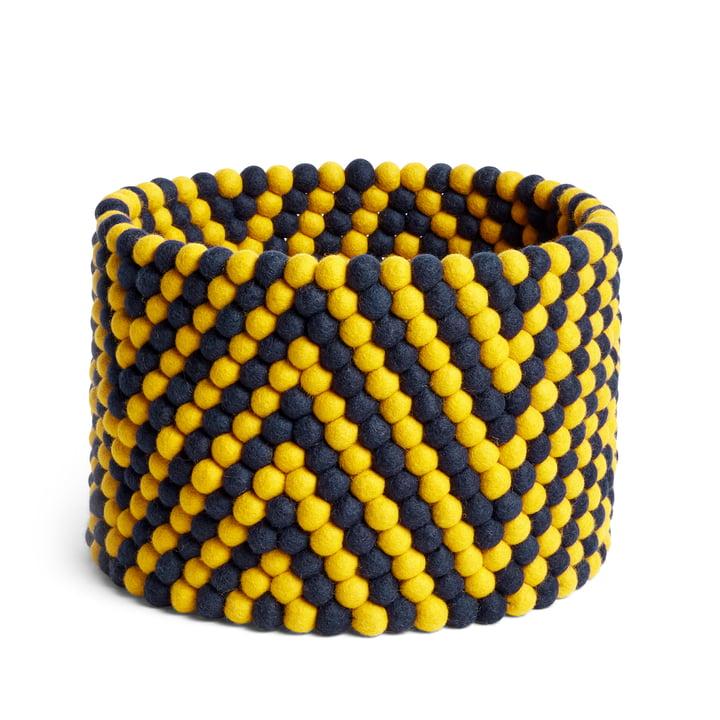 Bead Aufbewahrungskorb, Ø 40 x H 27 cm, Fischgrätenmuster gelb von Hay.