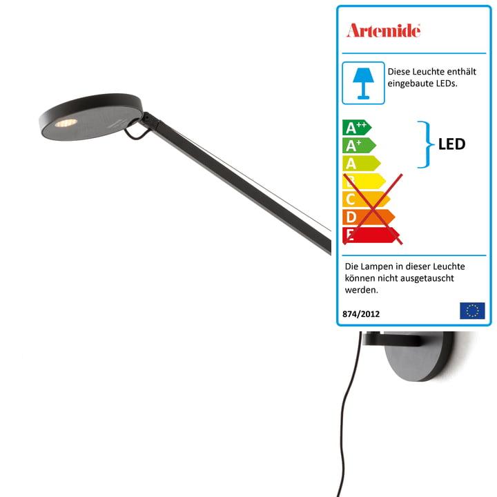 Demetra Micro LED-Wandleuchte von Artemide in anthrazit