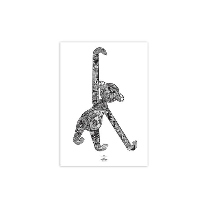 Affen Poster, 30 x 40 cm, schwarz / weiss von Kay Bojesen