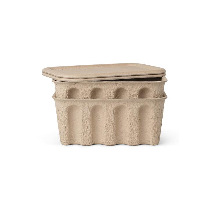 Die kleine Paper Pulp Box von ferm Living in braun (2er-Set)