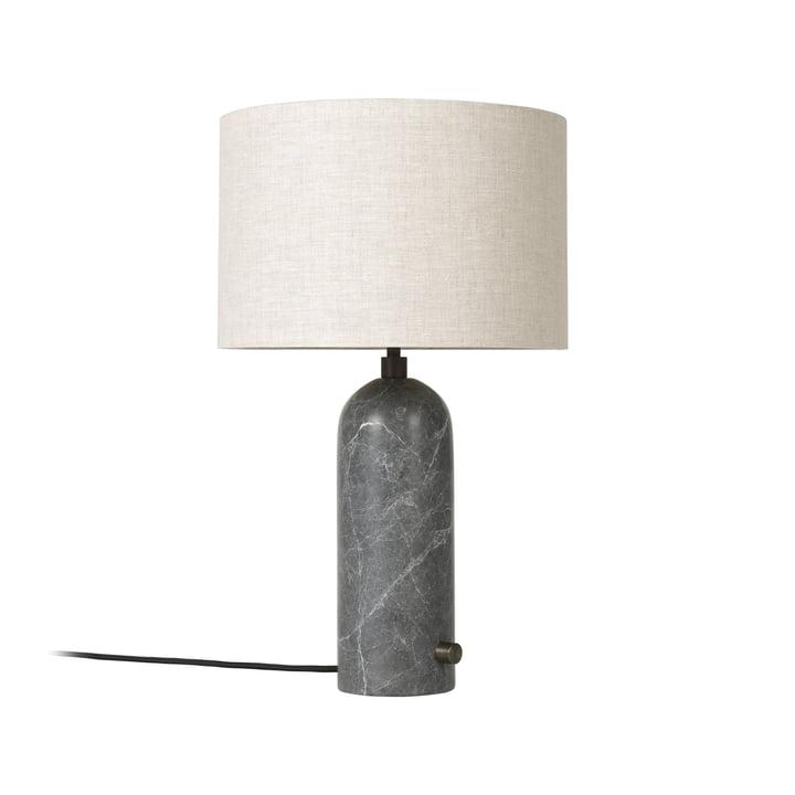 Gubi - Gravity Tischleuchte Small, Canvas / Marmor grau