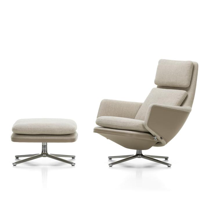 Grand Relax Sessel & Ottoman, Aluminium poliert, Leder Premium F sand / Corsaro (05 Stone Melange) von Vitra