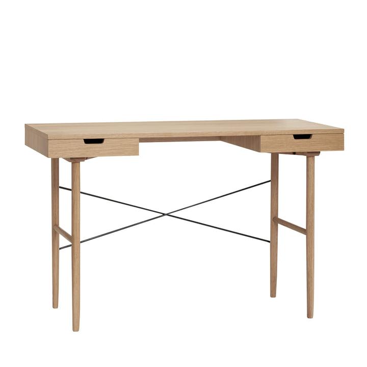 Schreibtisch mit 2 Fächern, LxB 120 x 55 cm, Eiche, natur von Hübsch Interior