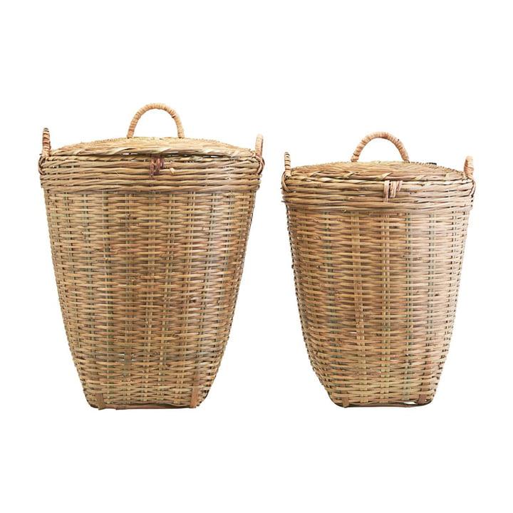 Der Tradition Wäschekorb mit Deckel von Meraki im 2er-Set in braun