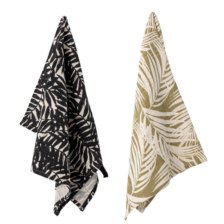 Das Ivora Geschirrtuch von Bloomingville, 45 x 75 cm, schwarz / beige (2er-Set)