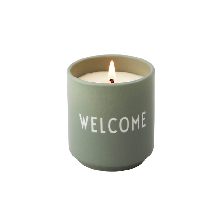 Die Duftkerze klein von Design Letters, Welcome / hellgrün