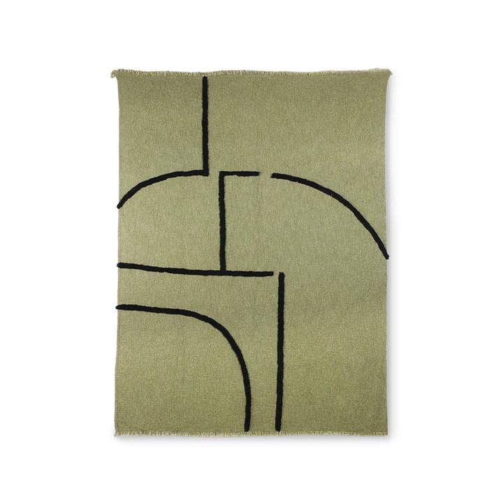 Die Decke mit Streifenmuster von HKliving, 130 x 170 cm, grün / schwarz