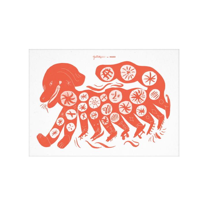 Das Chinese Dog Poster von Paper Collective, 30 x 40 cm, rot
