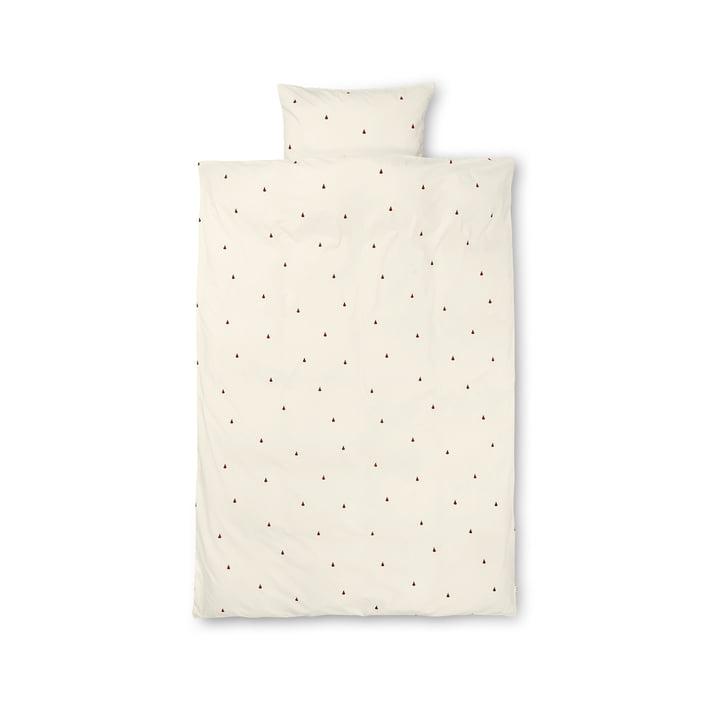 Birne Kinderbettwäsche 100 x 140 cm von ferm Living in off-white / zimtrot