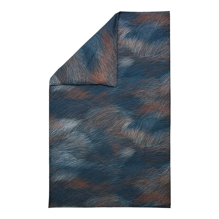 Lepo Deckenbezug von Marimekko in den Farben dunkelblau, hellblau, kupfer