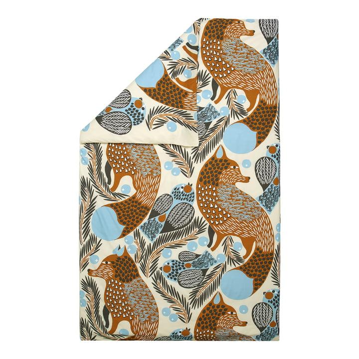 Ketunmarja Deckenbezug von Marimekko in den Farben dunkelgrau / cinnamon / hellblau