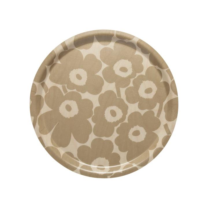Marimekko - Mini Unikko Tablett rund Ø 31 cm, beige / natur