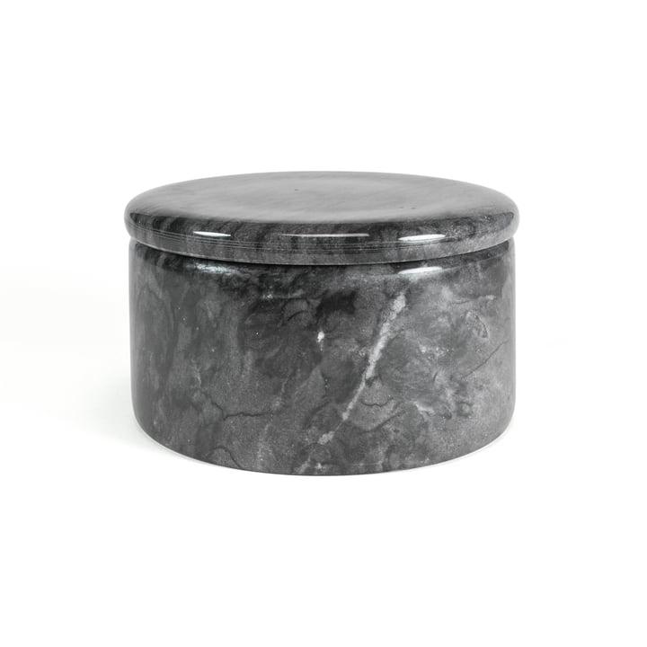 Marmor Aufbewahrung mit Deckel, dunkelgrau, 12 cm / H 7 cm von yunic
