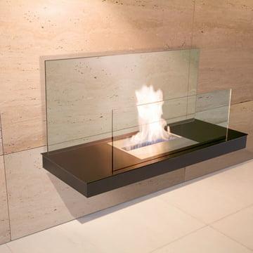 Wallflame II - Stahl, schwarz/ Glas, klar