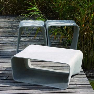 Outdoor-Beton-Design: Eternit Ecal Tisch und Hocker