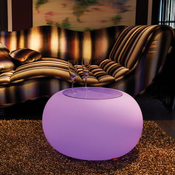Moree - Bubble Indoor LED - Beistelltisch mit Glasplatte
