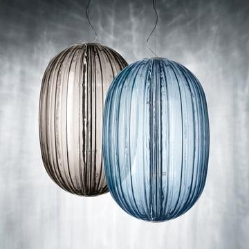 Foscarini - Plass Pendelleuchte, grau, azurblau