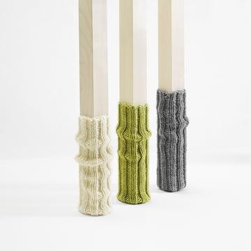 side by side - Socken für Stuhlbeine, grau, grün, creme, gerafft