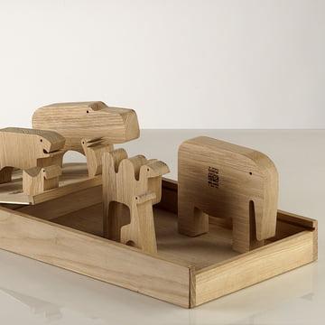Holz-Tierfiguren aus Eichenholz von Enzo Mari