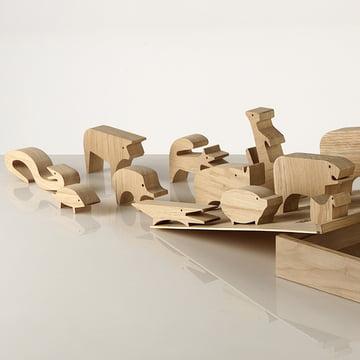 """Holzpuzzle """"Sedici Animali"""" von Enzo Mari für Danese Milano mit passender Holzbox"""