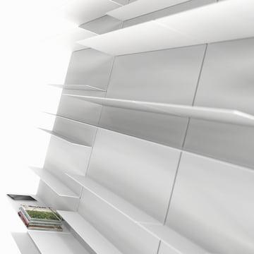 Frost - Unu Regalsystem, Ambientebild Regalwand weiss