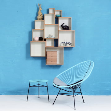 OK Design - Babushka Boxes, grau, Acapulco Chair, blau
