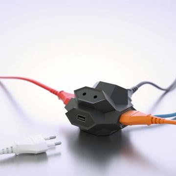 DiamondPlug - USB-Mehrfachsteckdose, schwarz / blau