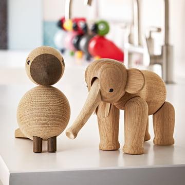 Holz-Elefant und Singvogel von Kay Bojesen